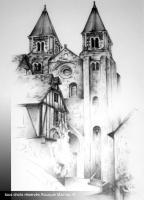 Conques.Mathieu Rouquié ©. Graphite.